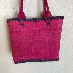 Pink and Purple Straw Tote/Lunch Sack